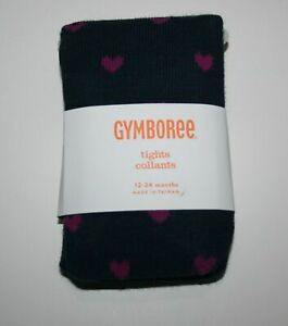 New Gymboree 6-12m Baby Girls Tights Footed Navy Blue w Pink Hearts Bundled Brig