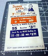 vintage 1940s SUPER KASH gambling envelope, sold in bars in the WWII era, NEW