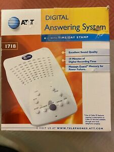 AT&T 1718 Digital Answering System Time Day Stamp 19 Minute Record Time White