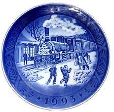 Royal Copenhagen Denmark Christmas Plate 1993 Christmas Guests Railroad Train