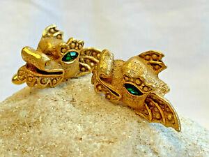 Unique! Swank Asian Dragon Cuff Link Set Ornate Green Eyes Lizard Loong Jewelry