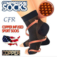 Plantar Fasciitis Compression Socks Heel Foot Arch Pain Relief Support COPPER