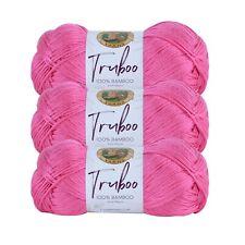 Lion Brand Yarn 837-195 Truboo Yarn, Hot Pink (Pack of 3 skeins)