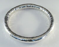 "925 sterling silver extra large hollow tube bangle hammered finish 5/16"" wide"