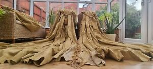 """HUGE PAIR GOLD BROCADE INTERLINED CURTAINS + SWAGS   94"""" DROP BY 104"""" WIDTH"""