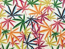AH216 Marijuana Pot Weed 420 Rainbow Blaze Cotton Quilt Fabric