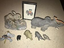 Lot Of 7 Elephant Figurines Collection & 1 Cross Stitch
