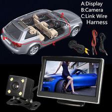 Rear View Mirror Monitor Desktop 5 Inch TFT-LCD Screen Car Backup 4 LED Camera