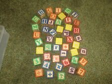"Set of 47 LETTERS, NUMBERS, IMAGES Play or Craft 1 5/8"" WOODEN BLOCKS"