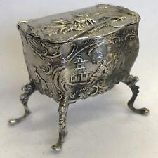 Bell 'antico in argento Olandese TABACCHIERA petto su gambe in rilievo Simon Rosenau