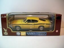NIB 1:18 Road Legends Yellow 1969 Plymouth Barracuda 383 Die-cast By Yat Ming