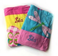 "Lot of 2 Towels Embroidered ""LILA"" 29x 60 Beach Pool Dragonfly Flip Flop $59z"