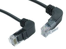 NEW CAT5e RIGHT ANGLED UP TO RIGHT ANGLED DOWN BLACK .5M UTP PATCH NETWORK CABLE