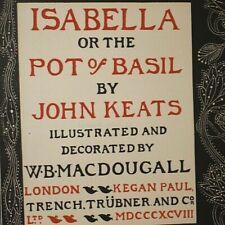 John Keats Isabella or The Pot of Basil First Thus 1898