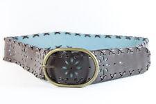 Marrón rústico / Verde Azulado señoras Bronce hebilla de inspiración vintage Correa (34.5-39inch (Sc65)