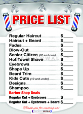 Barber shop Price List by Barbewall®, Barber poster, 24 x 36 inches - Laminated