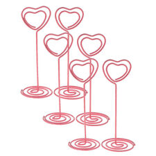 6x Photo Holder Table Number Card Menu Heart Shape Paper Pink Clips for Home