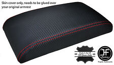 RED STITCHING ARMREST CARBON FIBER VINYL COVER FITS SKYLINE R32 GTS GTR 89-93