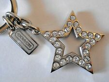 NEW Coach Star Pierced Pave Crystal Key Chain Ring FOB Bag Charm Rhinestone 1652