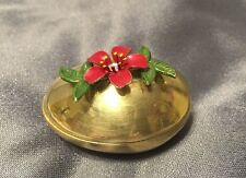 Trinket Box - Brass Egg with attached Brass Enameled Flower / Leaves