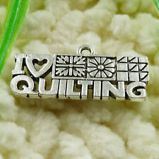 Free Ship 50 pieces tibetan silver i love quilting charms 24x12mm #1414