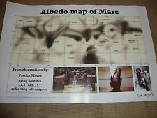 SIR PATRICK MOORE (deceased) personally signed Ltd Edition MARS ALBEDO map 17x12