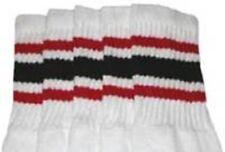 "22"" KNEE HIGH WHITE tube socks with RED/BLACK stripes style 3 (22-62)"