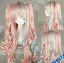 Lolita Sakurai pink blue gradient cosplay wig + clip on ponytails H79