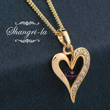 SOLID 9K 9CT GOLD GF LOVE HEART Pendant NECKLACE GEN SWAROVSKI CRYSTAL EX550