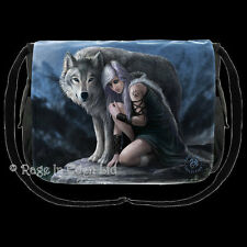 *PROTECTOR* Goth Wolf Shoulder / Messenger Fantasy Art Bag By Anne Stokes