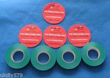 7 x Green  Pvc Tape  Electrical Insulation / Flame Retardan PVC Tape 19mm x 33m