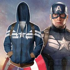 Avengers Captain America Hoodie Cosplay Jacket Casual Sweatshirt Full-Zip Coat