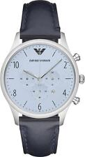 Emporio Armani AR1889 Men's Blue Chronograph Dial Leather Band Watch NEW! $295