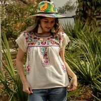 Mexican Floral Embroidered Boho Blouse Lace Handmade Peasant Top Frida S/M/L/XL