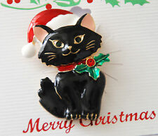 Christmas Cat w Santa Hat Pin and/or Pendent / Black or White Cat / Gold-tone