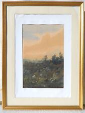 Auguste HERST (1825) PAYSAGE BARBIZON Tableau Peinture Aquarelle IMPRESSIONNISTE