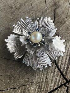 Krementz Flower Pearl Brooch With Blue Sapphire Glass