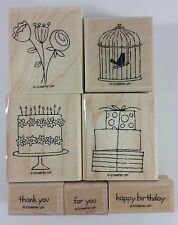 Stampin' Up! Happy Moments Rubber Stamps Birthday Cake Flowers Bird Cage Gifts