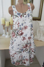 Italie Femmes Fleurs Robe Lin/Coton Extra-Large Midi Été Blanc 40 42 44