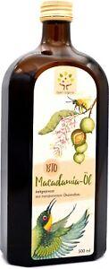 Bio-Macadamiaöl 500ml, kaltgepresst im Schwarzwald aus Bio-Macadamianusskernen