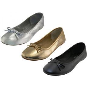 Women's Ballet Flats Shoes PU Upper Rubber Sole Silver Gold Black Sizes 6-11 New