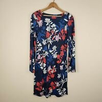 Joules Beth Dress French Navy Floral 6 US (10 UK) Jersey Knit 3/4 Sleeve Pockets