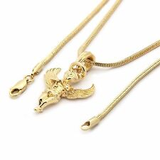 """Men 14k Gold Plated Lifted Wings Angel Pendant Hip-Hop 3mm 27""""  Snake Chain A01"""
