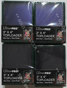 """ULTRA PRO TOP LOADERS - 3 X 4 INCH GREEN BORDER(X100) -""""IN STOCK NOW* - FREE P&P"""