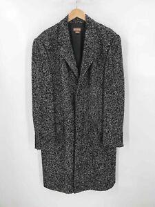 Michael Kors Black White Wool Blend Men's Speckled Button Overcoat Sz L