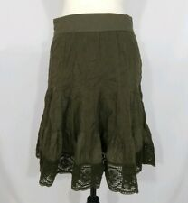 Edme & Esyllte Anthropologie Olive Green A-Line Crochet Hem Boho Skirt Size 6