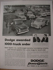 1957 Dodge Power Giants Truck 1000 Truck Order Vintage Print Ad 10226