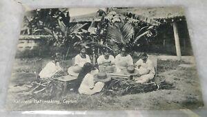1910 Ceylon Kalurara Hat Making, King Edward 6c Purple Stamp Postcard to USA