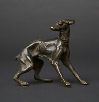 19th CENTURY Bronze GREYHOUND or WHIPPET sculpture