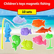 Kids Wooden Material Magnetic Fishing Educational Toys 1 Fishing Rods 9 Fishes